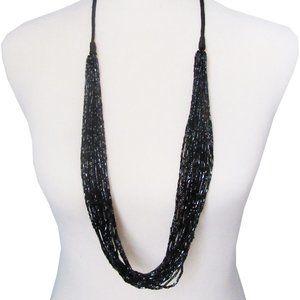 Lia Sophia Black Multi Bead Ravish Necklace RV$68